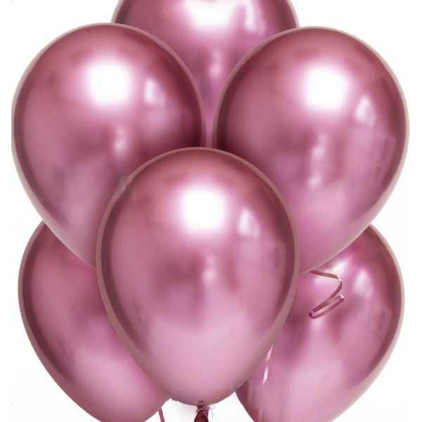 гелиевые шары розовый хром