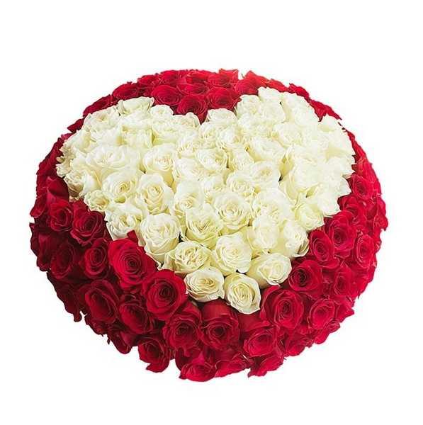 Букет из роз сердцем