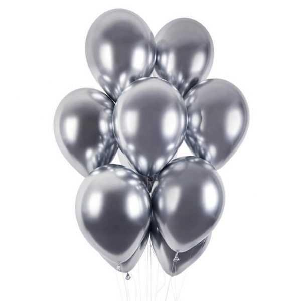 гелиевые шары серебряный хром